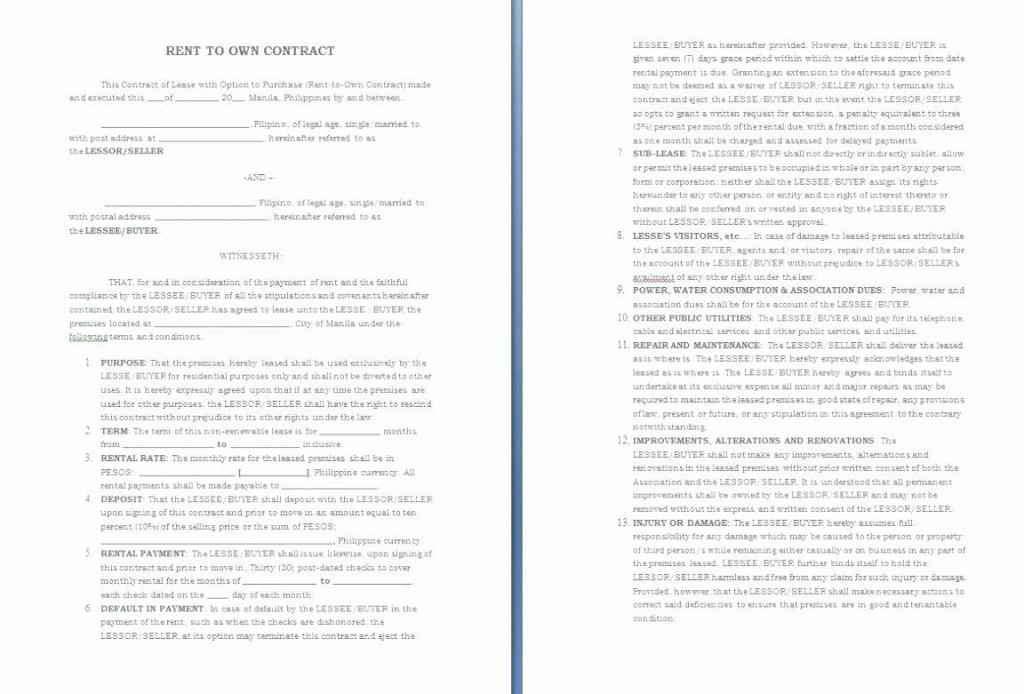 001 Magnificent Rent To Own Contract Template Philippine High Resolution  Philippines SampleLarge