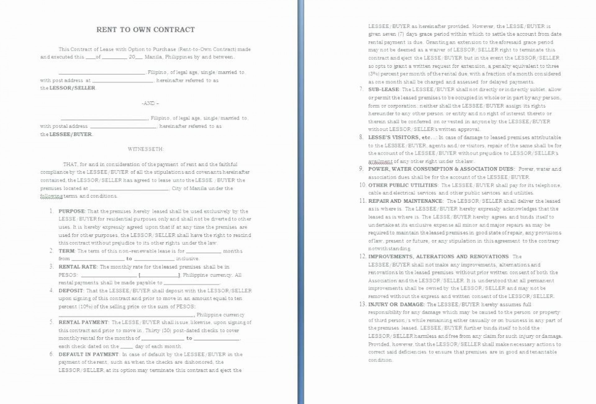 001 Magnificent Rent To Own Contract Template Philippine High Resolution  Philippines Sample1920