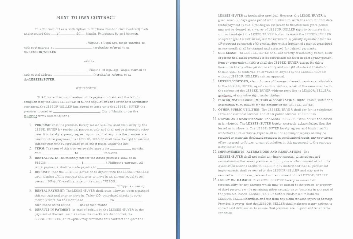 001 Magnificent Rent To Own Contract Template Philippine High Resolution  Philippines SampleFull