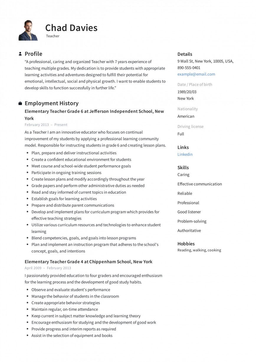 001 Magnificent Resume Template For Teaching High Resolution  Example Assistant Cv Uk Job868