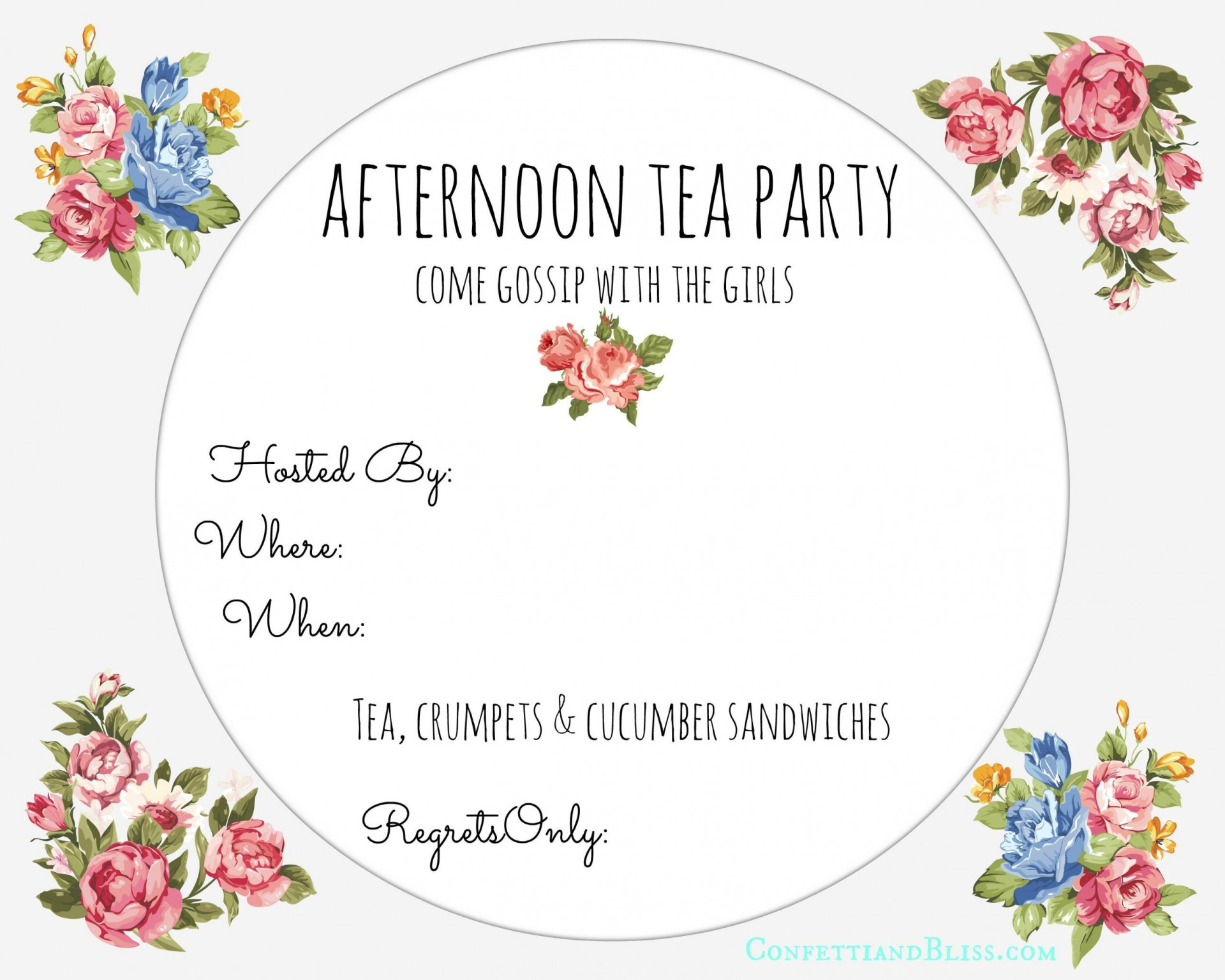 001 Magnificent Tea Party Invitation Template Free Example  Vintage Princes Printable1920