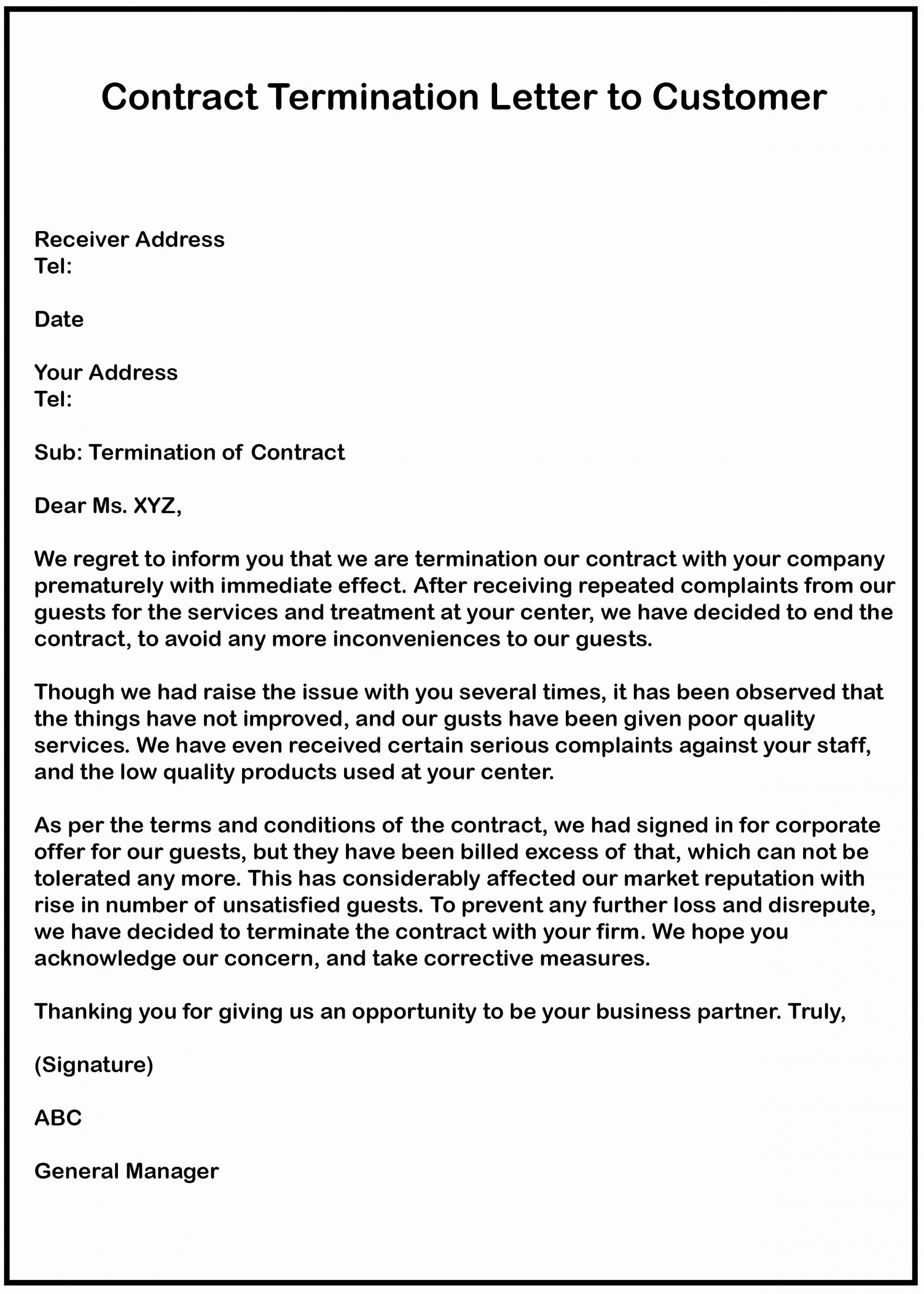 Termination Of Contract Letter Example from www.addictionary.org
