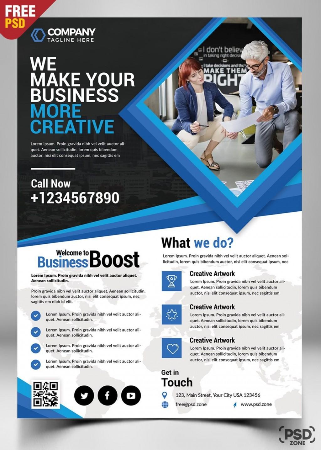 001 Marvelou Busines Flyer Template Free Concept  Psd 2018 Vector Brochure TrainingLarge