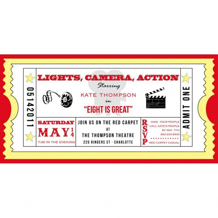001 Marvelou Free Printable Movie Ticket Birthday Party Invitation High Def 728