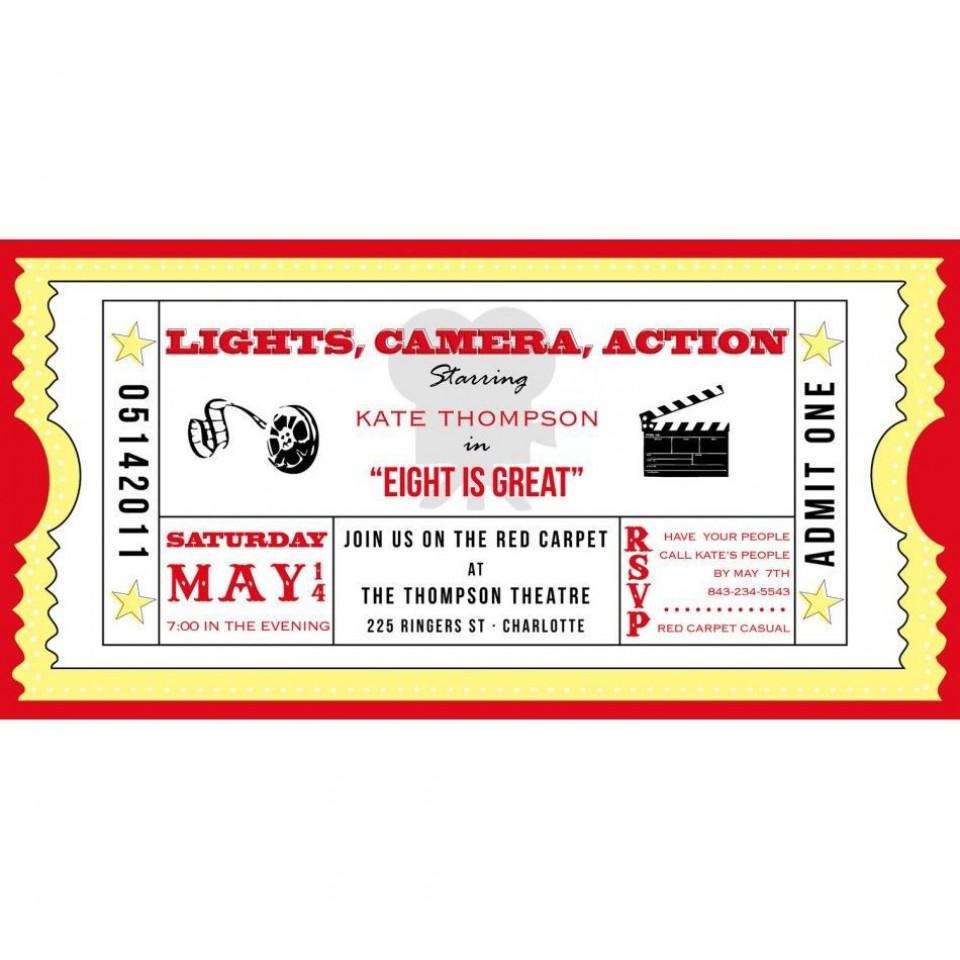 001 Marvelou Free Printable Movie Ticket Birthday Party Invitation High Def 960