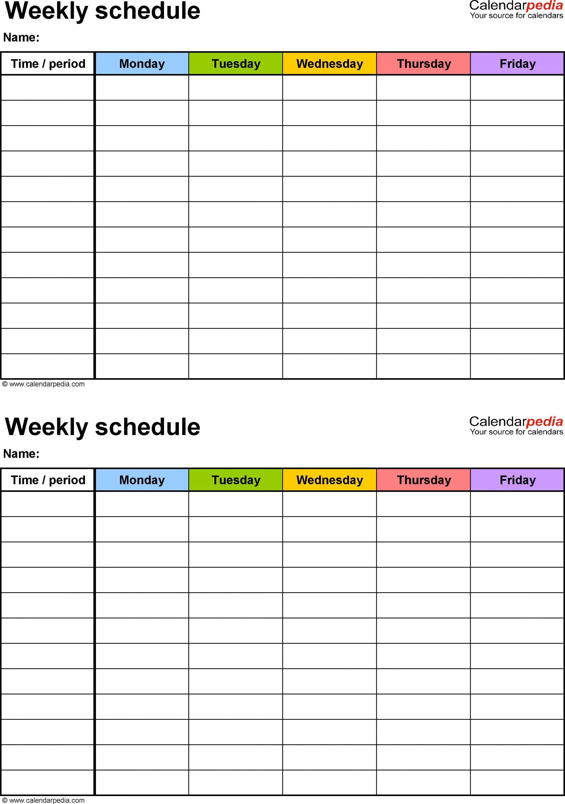 001 Marvelou Free Weekly Calendar Template Idea  Printable With Time Slot 2019 Word1920