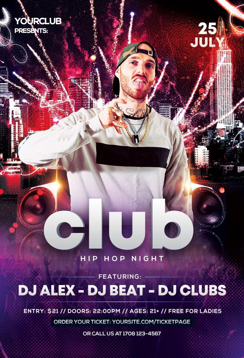 001 Marvelou Hip Hop Flyer Template Highest Clarity  Templates Hip-hop Party Free DownloadLarge