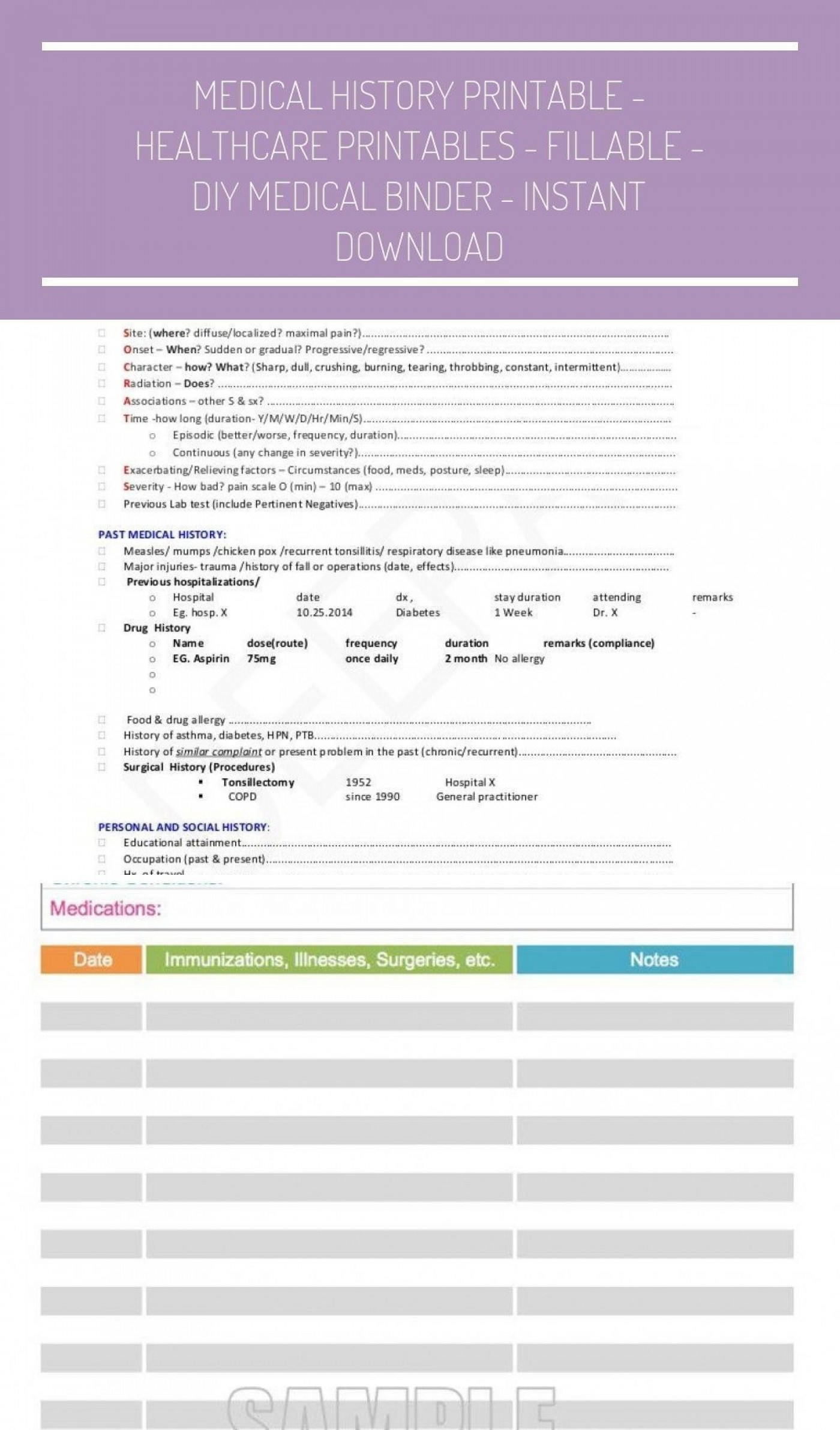 001 Marvelou Personal Medical History Template Download Inspiration 1400
