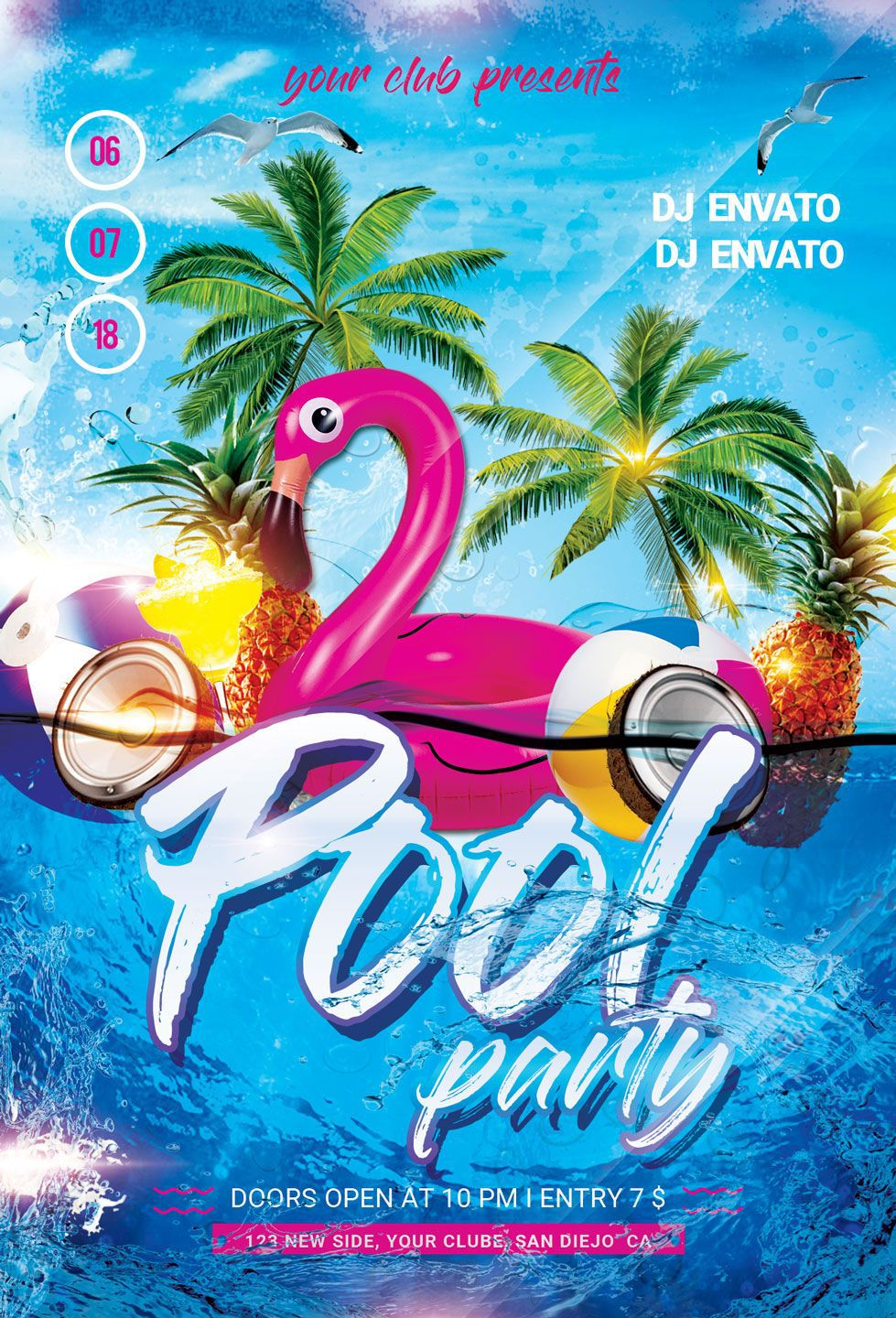001 Marvelou Pool Party Flyer Template Free Image  Photoshop PsdFull