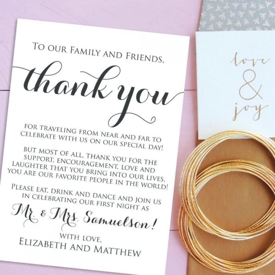 001 Marvelou Wedding Thank You Note Template Example  Wording Sample For Money Gift Shower960