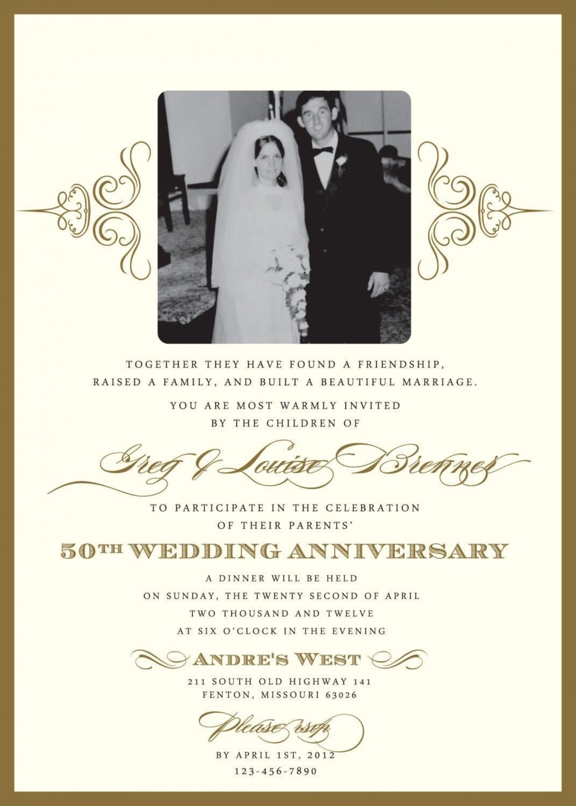 001 Outstanding 50th Wedding Anniversary Invitation Card Sample Picture  Wording1920
