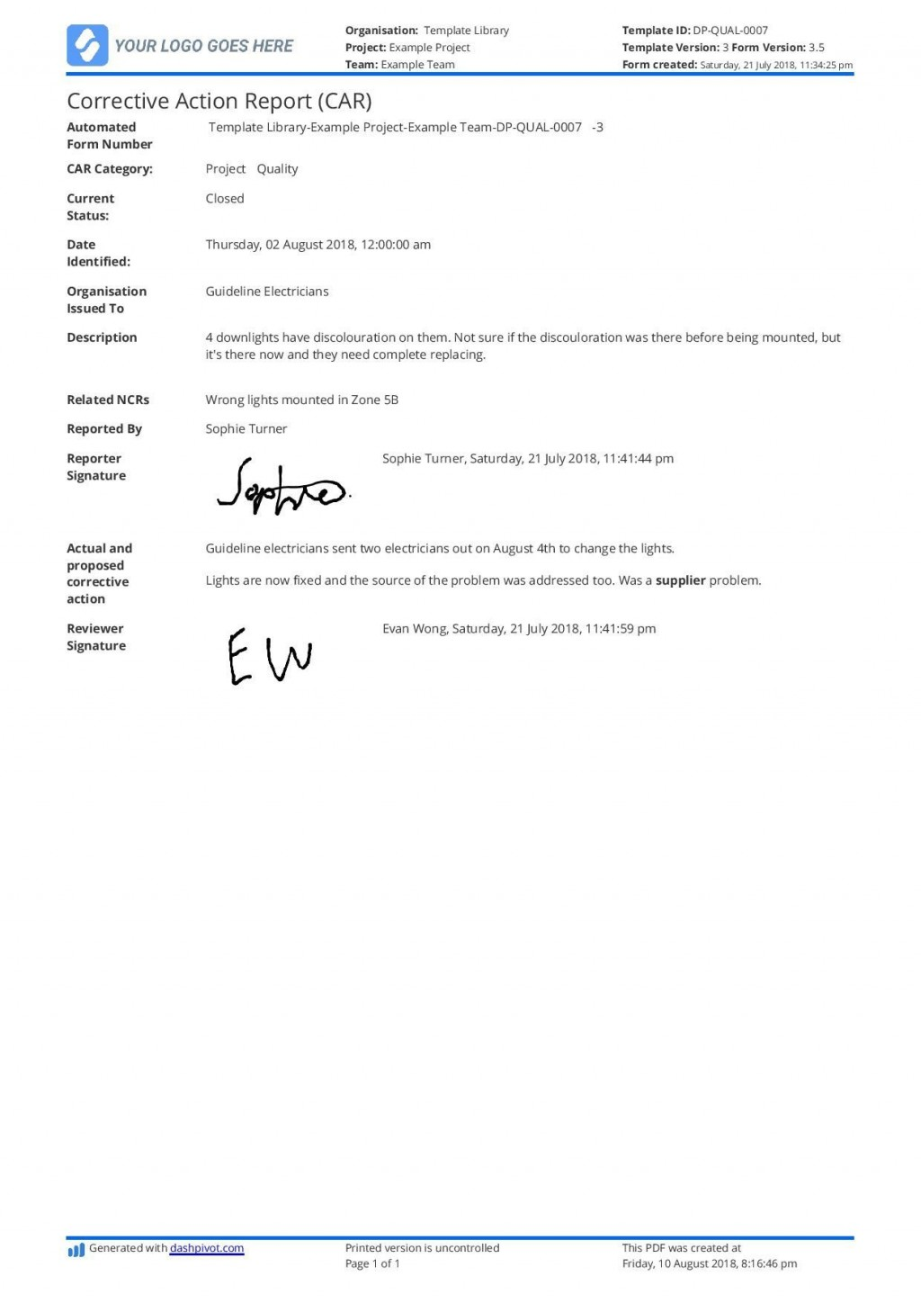 001 Outstanding Corrective Action Report Template Idea  Doc 8d Format PdfLarge