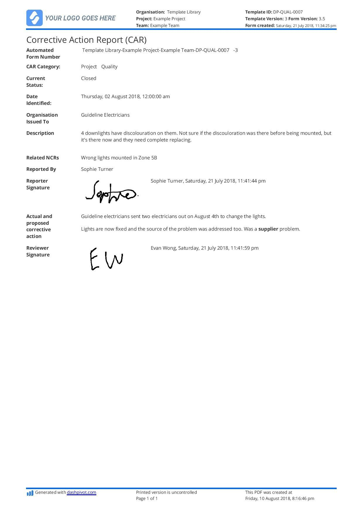 001 Outstanding Corrective Action Report Template Idea  Doc 8d Format PdfFull