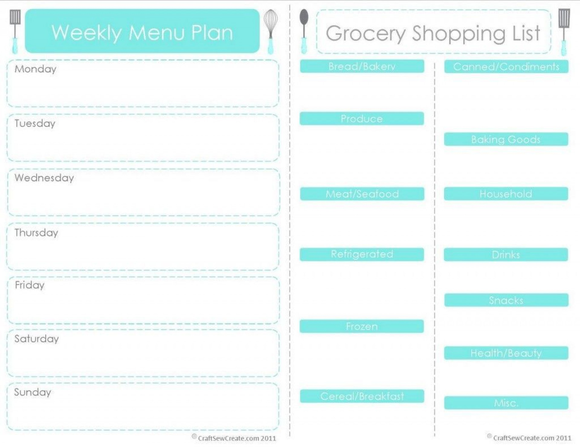 001 Outstanding Free Food Planner Template Picture  Printable Weekly Meal With Grocery List Diary Download Editable Word1920