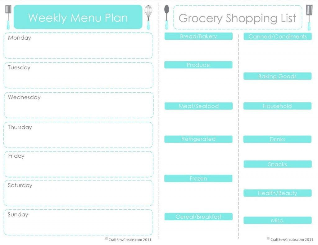 001 Outstanding Free Food Planner Template Picture  Printable Weekly Meal With Grocery List Diary Download Editable WordFull