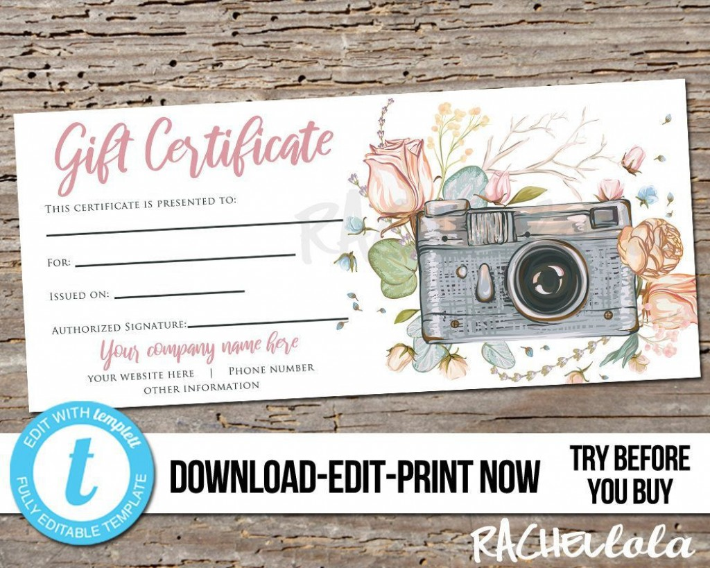 001 Outstanding Photography Session Gift Certificate Template Highest Quality  Photo FreeLarge