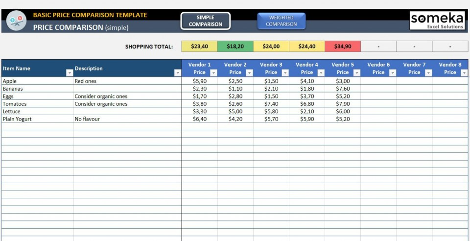 001 Outstanding Price Comparison Excel Template Idea  Free Download Competitor Vendor960