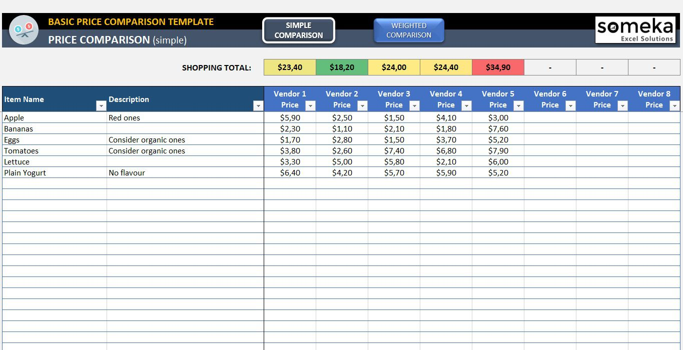 001 Outstanding Price Comparison Excel Template Idea  Free Download Competitor VendorFull