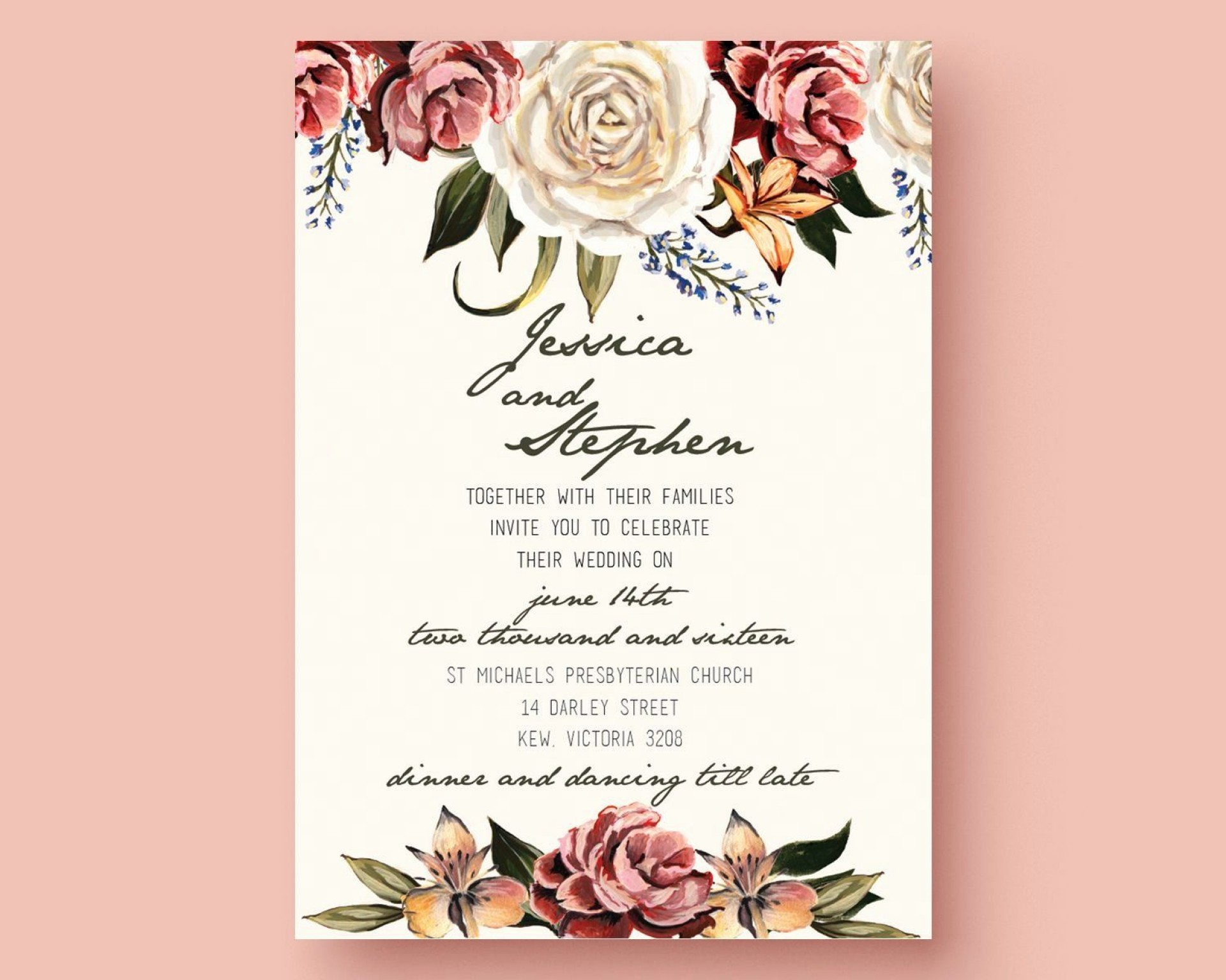 001 Outstanding Printable Wedding Invitation Template Highest Quality  Free For Microsoft Word Vintage1920