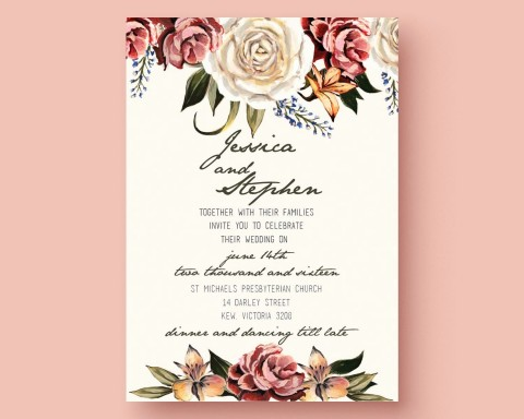 001 Outstanding Printable Wedding Invitation Template Highest Quality  Free For Microsoft Word Vintage480