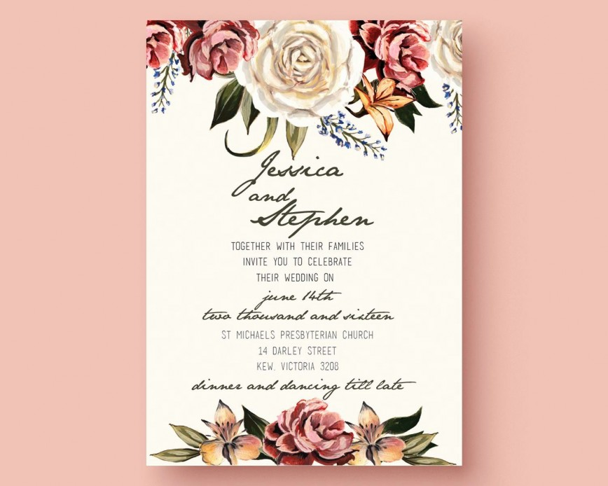 001 Outstanding Printable Wedding Invitation Template Highest Quality  Free For Microsoft Word Vintage868
