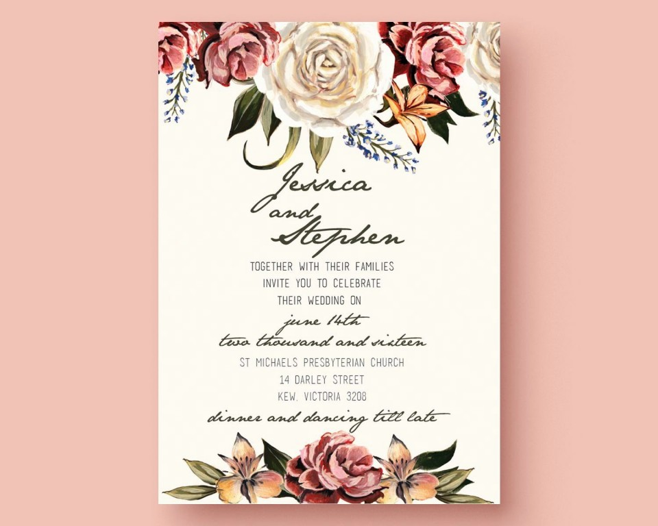 001 Outstanding Printable Wedding Invitation Template Highest Quality  Free For Microsoft Word Vintage960