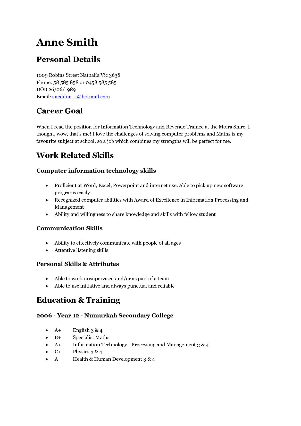Resume Template For Teens Addictionary