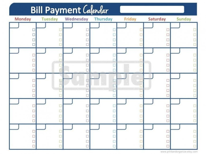 Bill Pay Calendar Template Addictionary