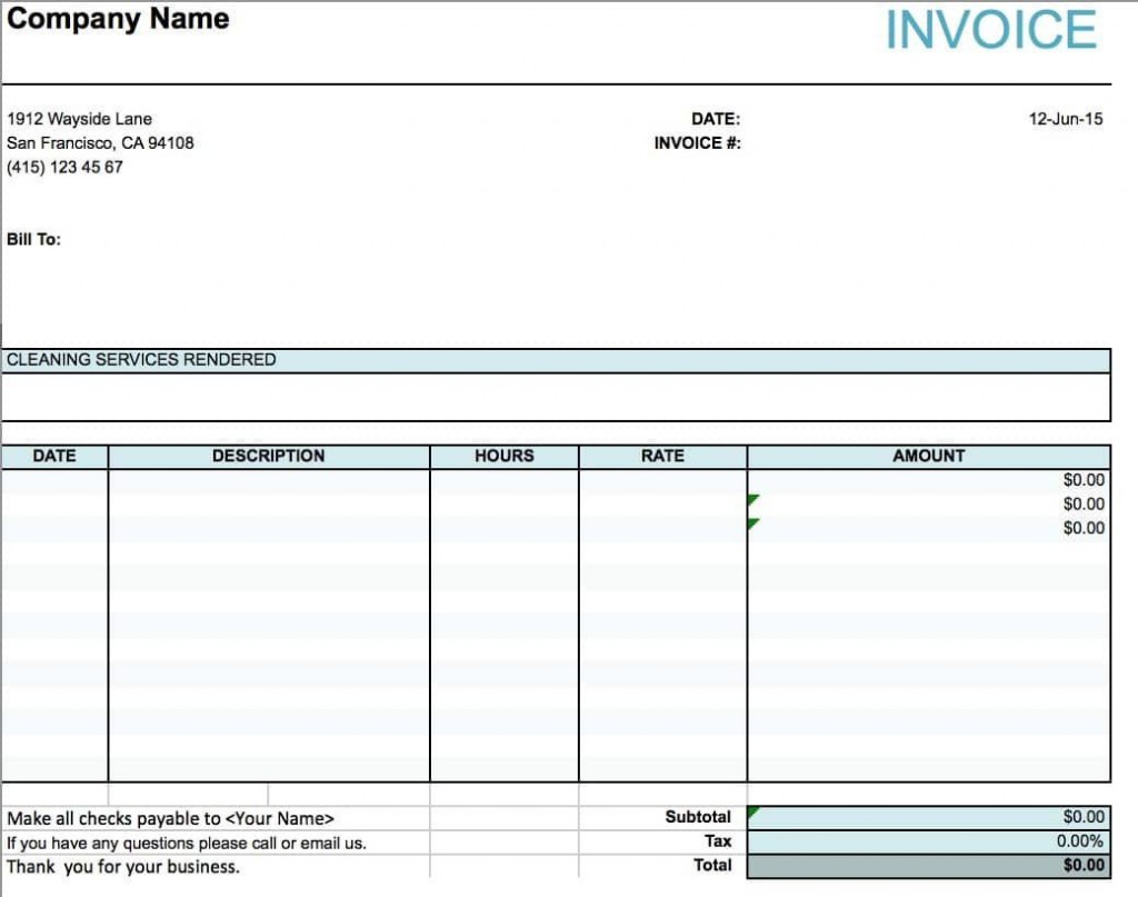 001 Phenomenal Cleaning Service Invoice Template Image  UkLarge