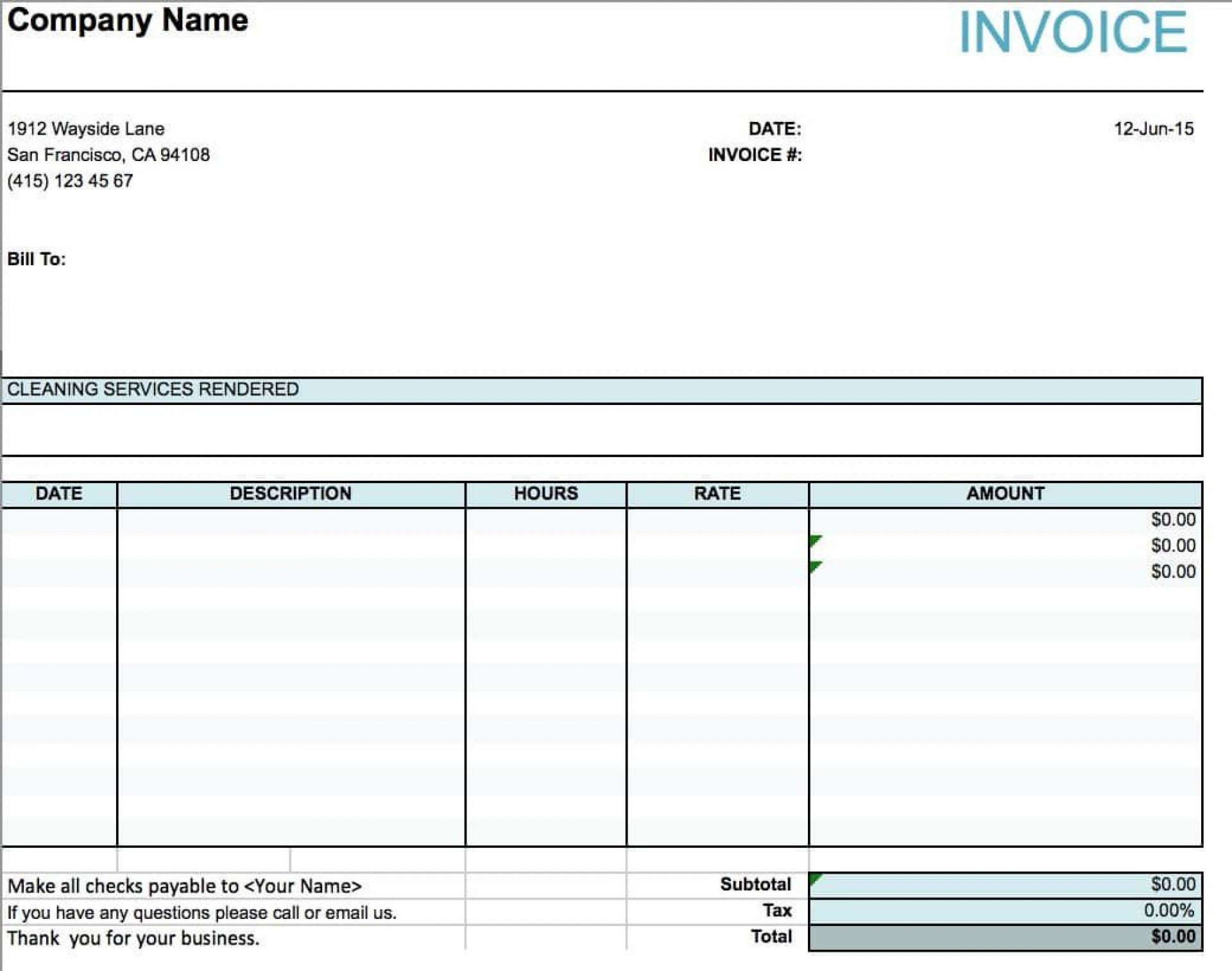 001 Phenomenal Cleaning Service Invoice Template Image  Uk1920