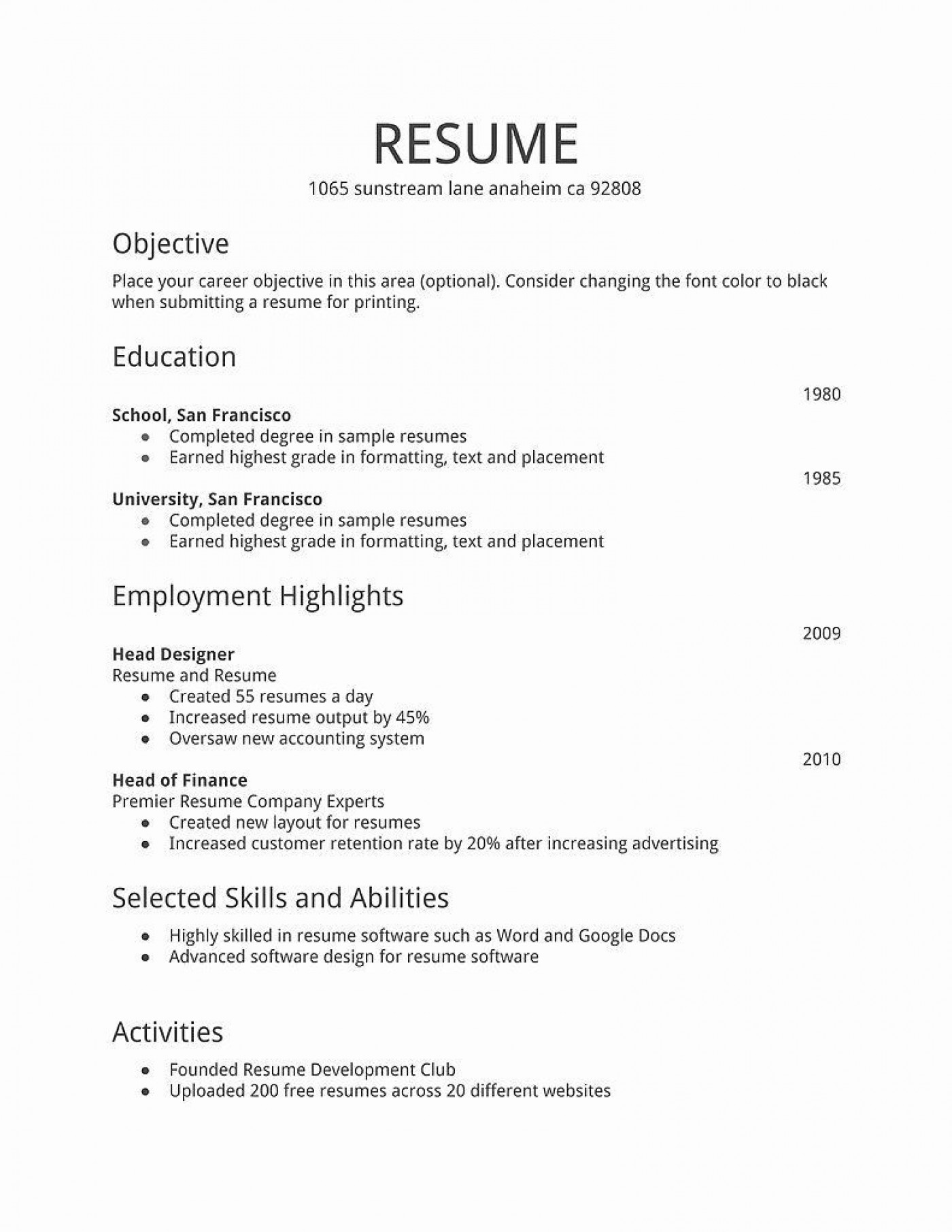 001 Phenomenal Free Basic Resume Template High Resolution  Sample Download For Fresher Microsoft Word 20071400