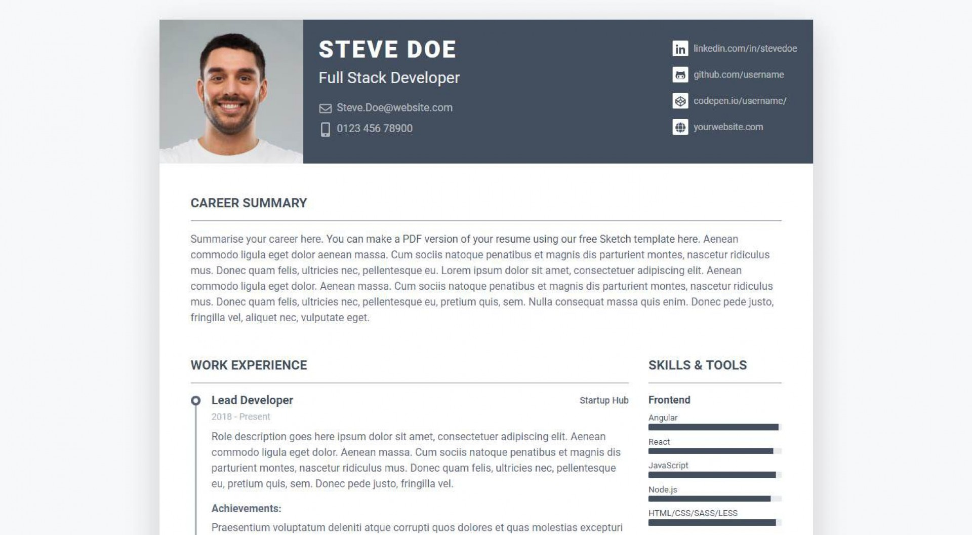 001 Phenomenal Free Html Resume Template Picture  Html5 Best Cv Desmond / Download1920