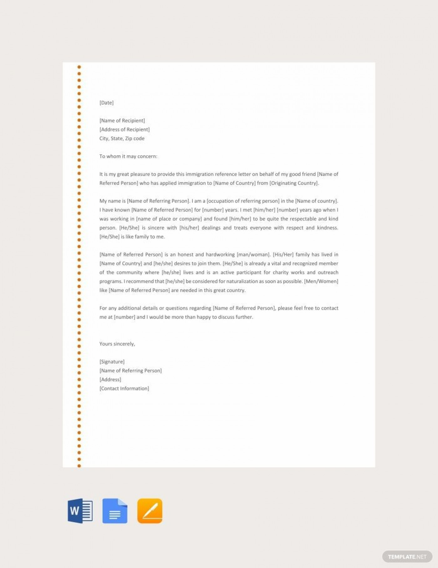 001 Phenomenal Free Reference Letter Template Download Example 1400