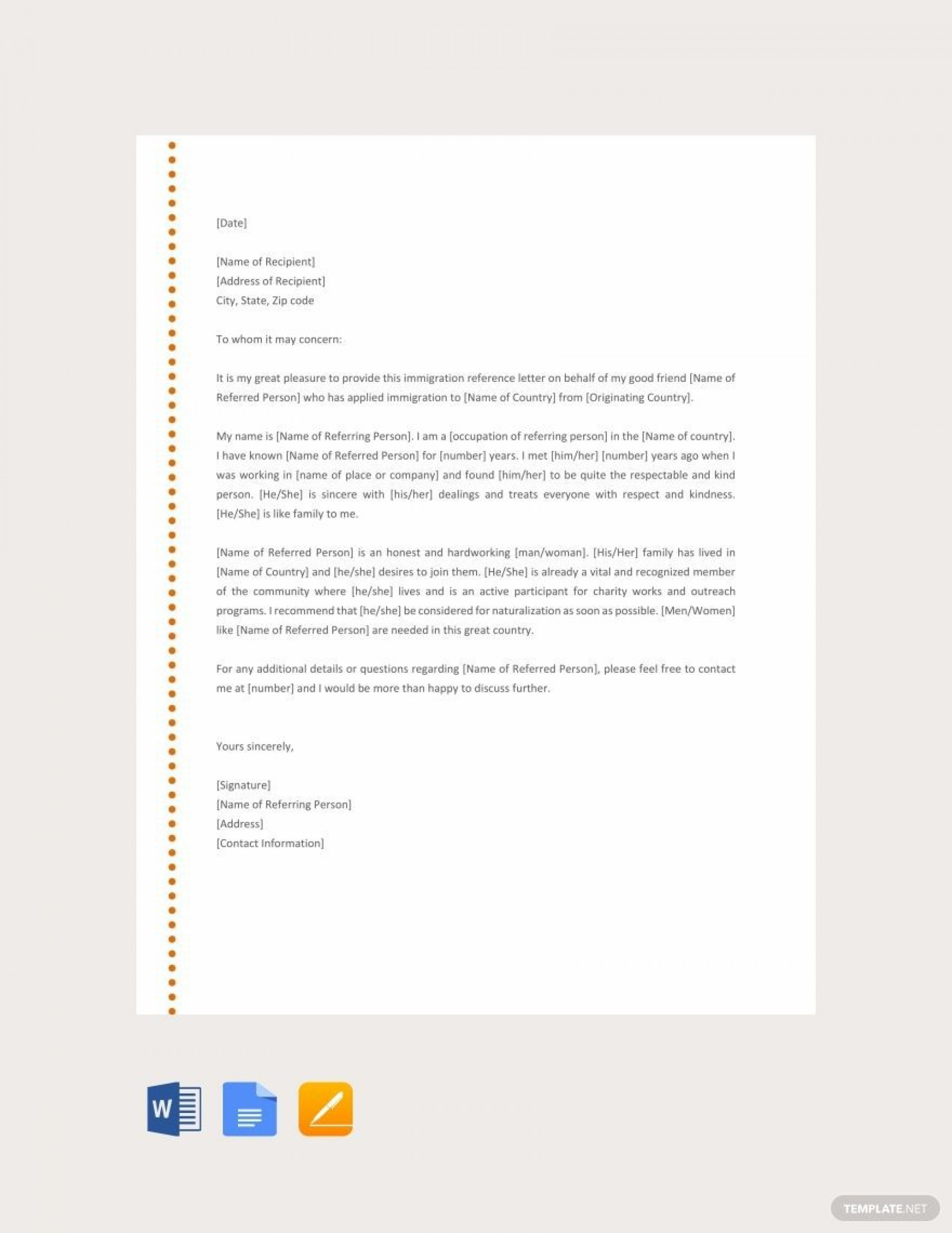 001 Phenomenal Free Reference Letter Template Download Example 1920