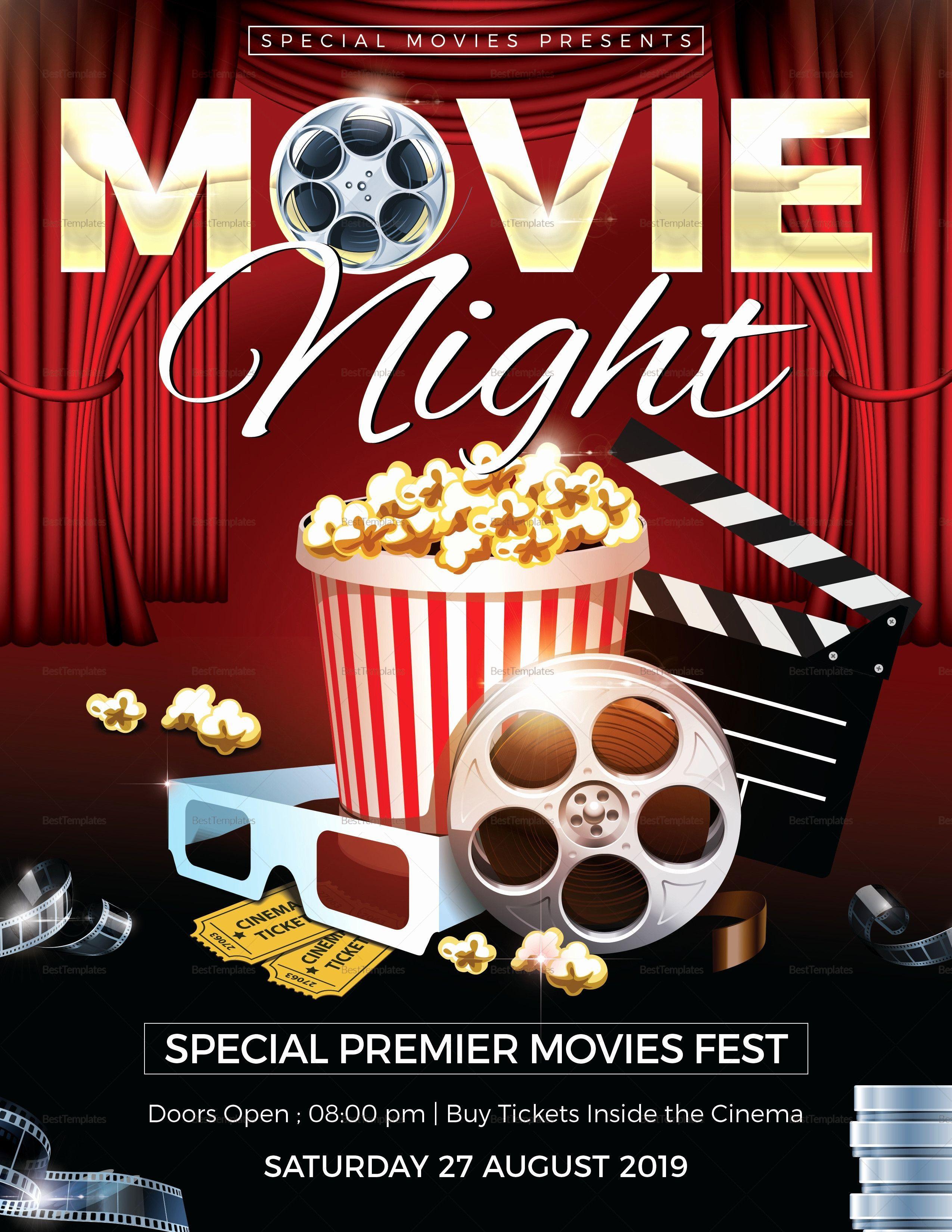 001 Phenomenal Movie Night Flyer Template Design  Editable Psd FreeFull