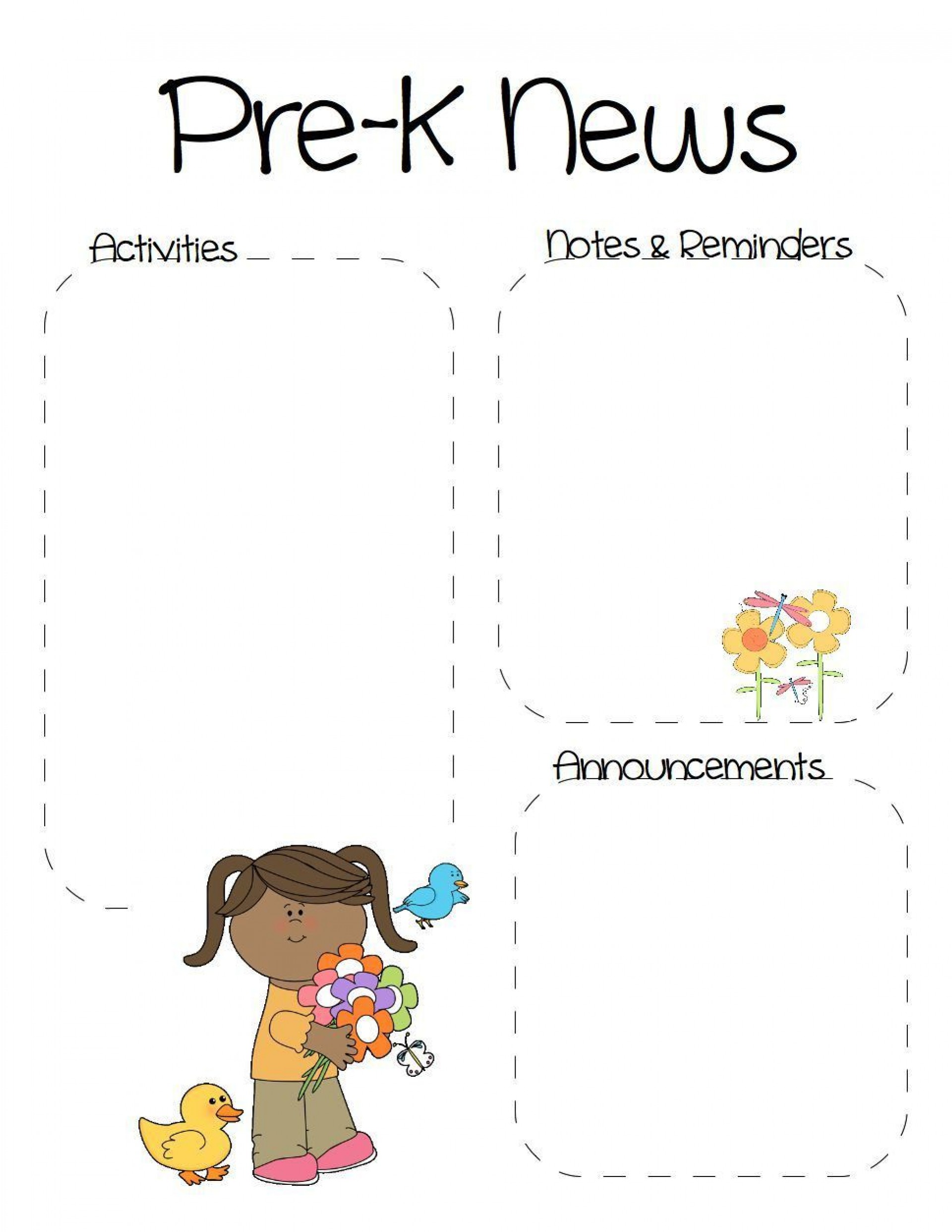 001 Phenomenal Pre K Newsletter Template Picture  Templates Free Printable Classroom1920