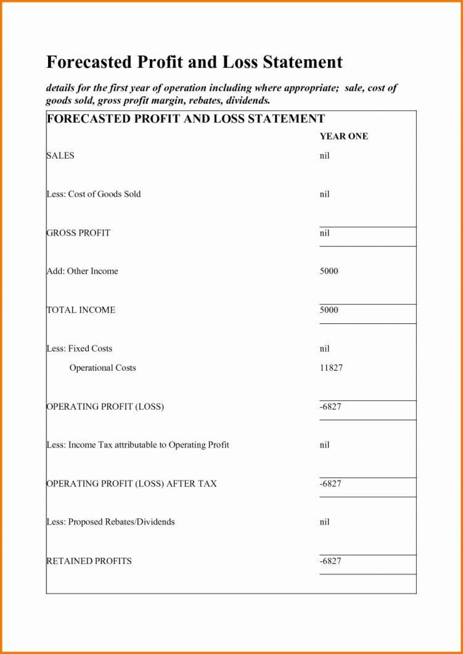 001 Phenomenal Simple Profit And Los Statement Template For Self Employed Photo  Free1920