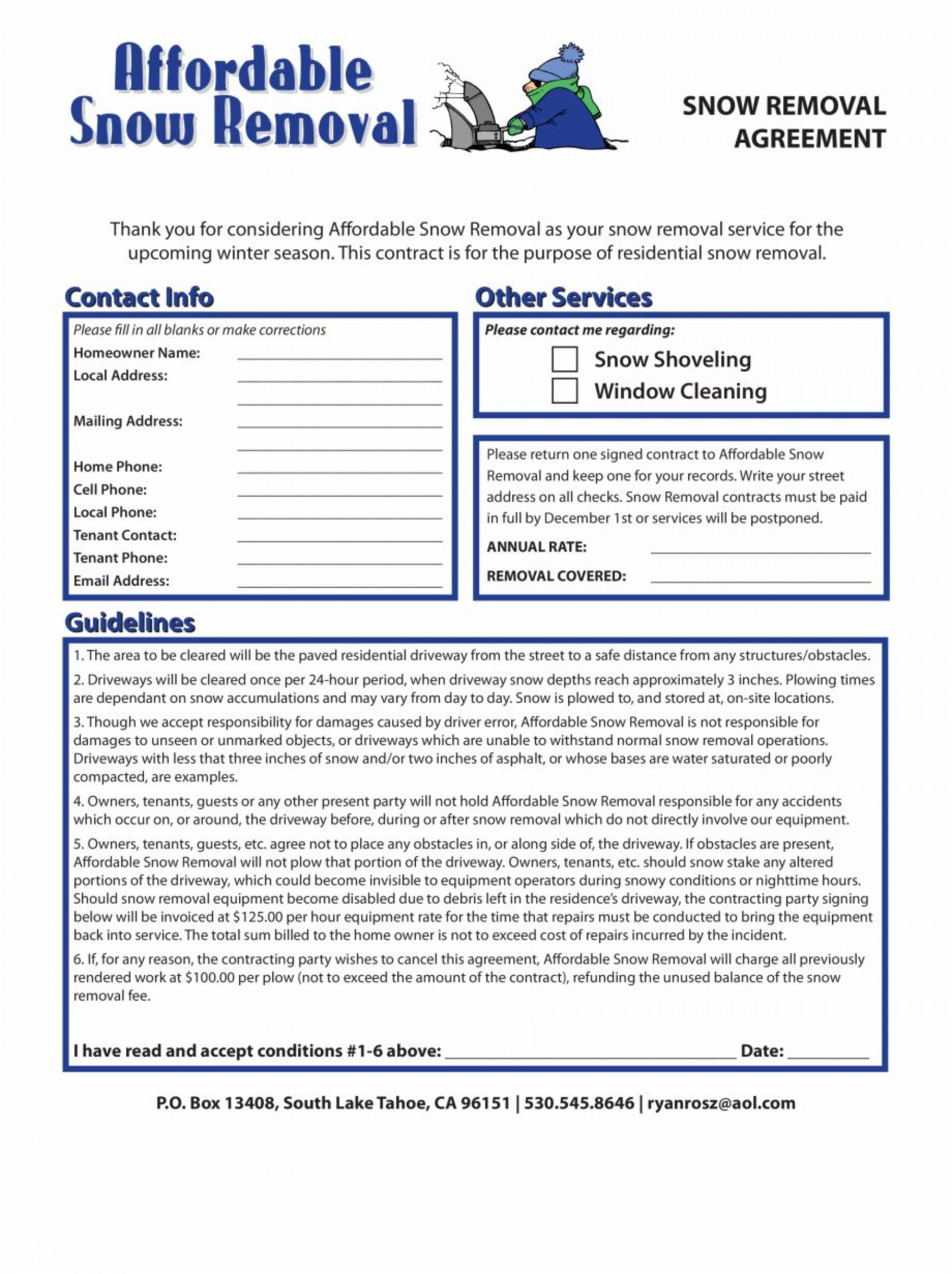 001 Phenomenal Snow Removal Contract Template Sample  Templates Free Printable Simple Seasonal Plow Agreement1920