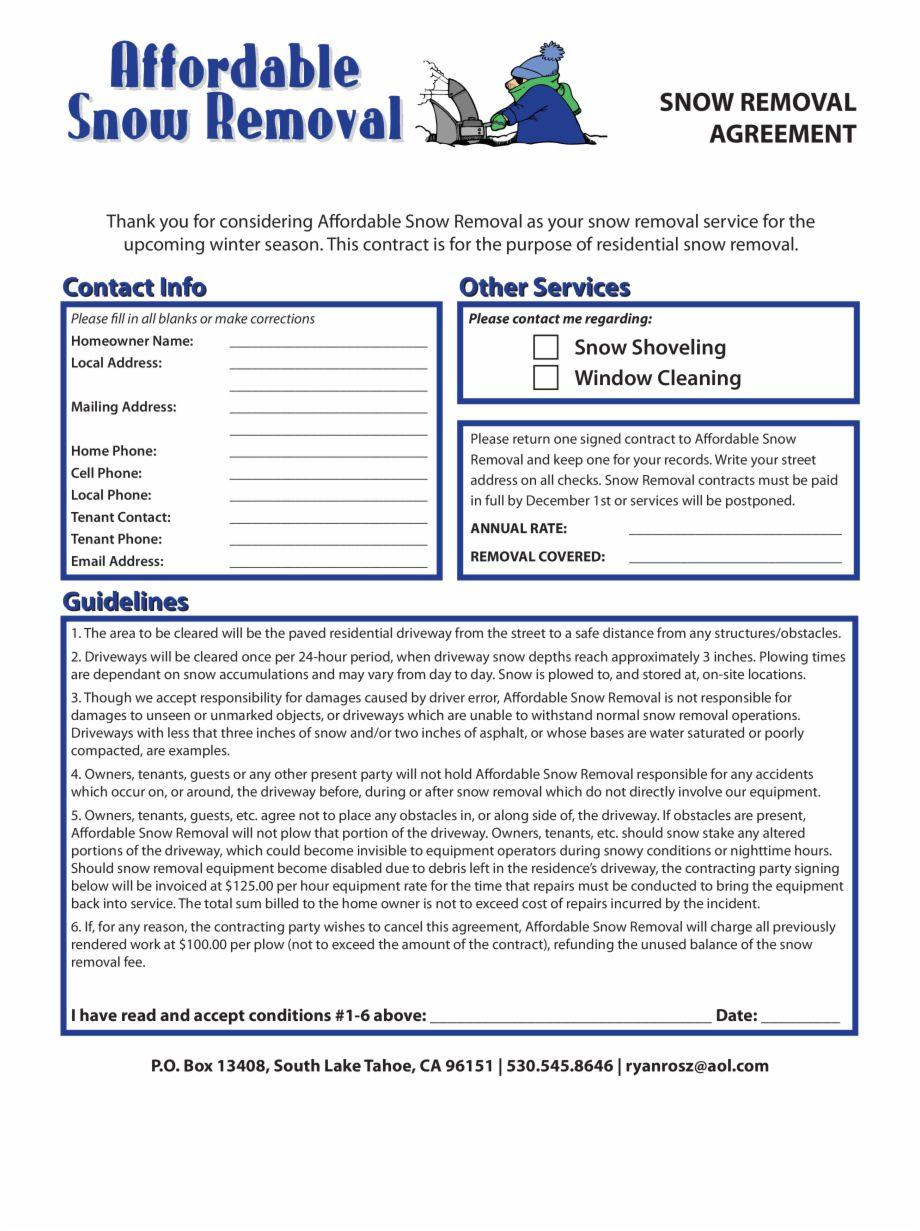 001 Phenomenal Snow Removal Contract Template Sample  Templates Free Printable Simple Seasonal Plow AgreementFull