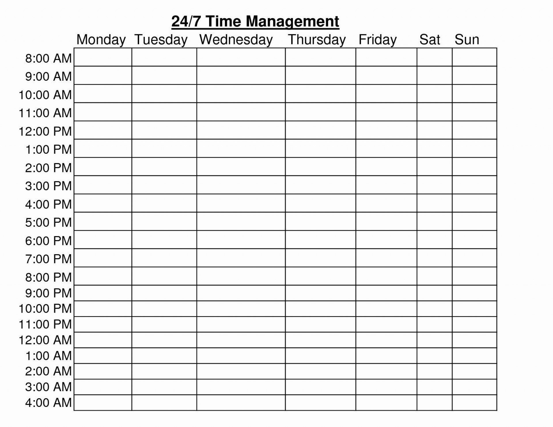 001 Rare Daily Hourly Schedule Template Word Example 1920