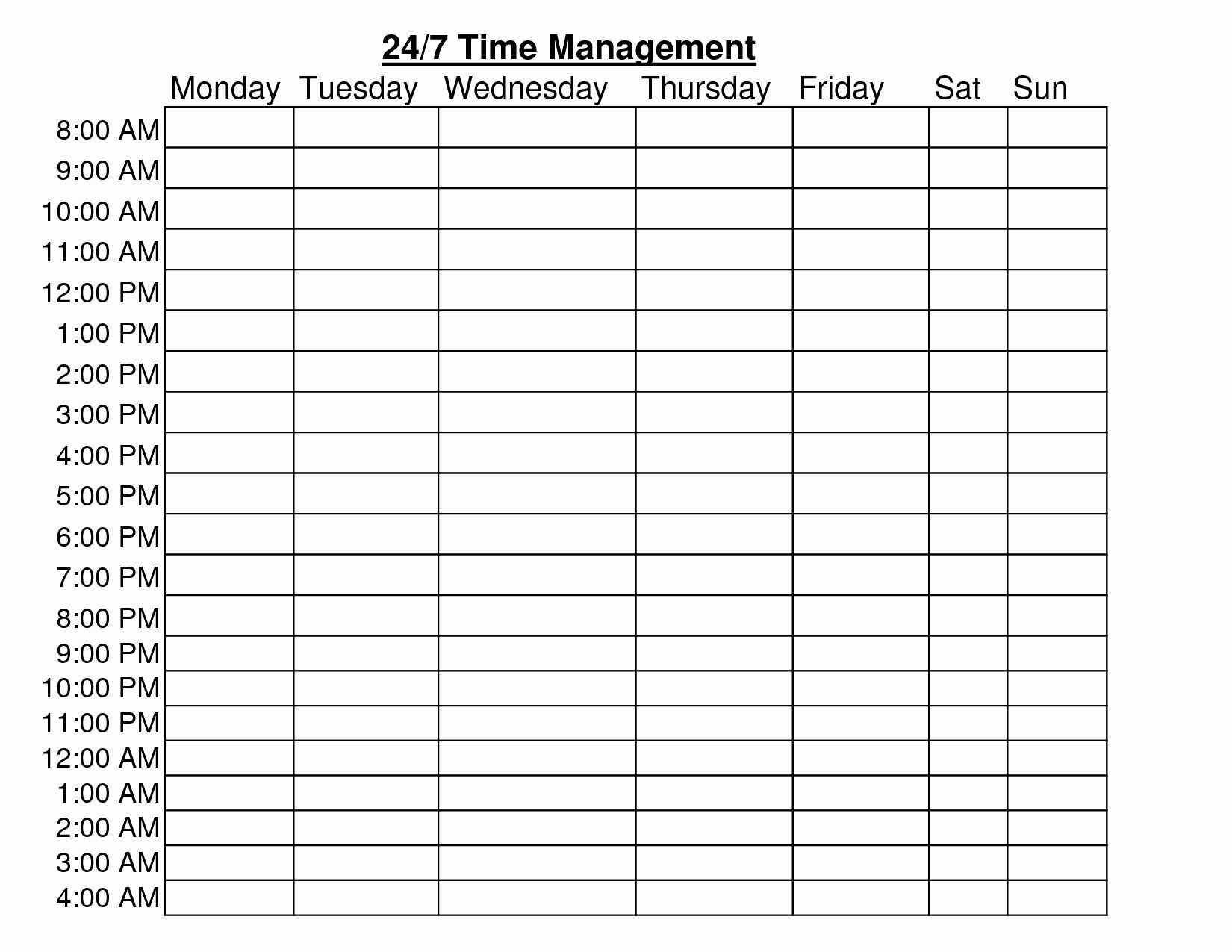 001 Rare Daily Hourly Schedule Template Word Example Full