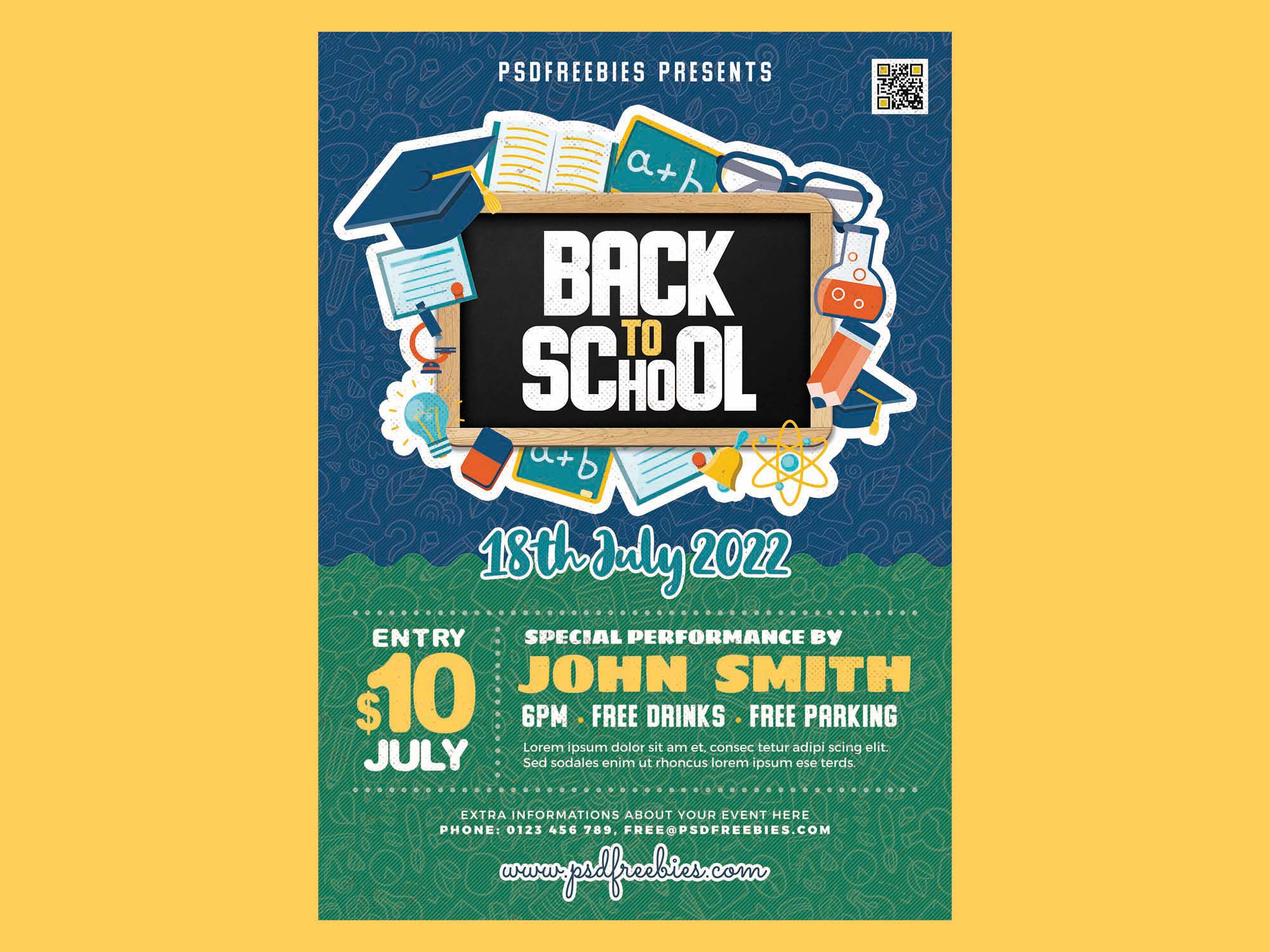 001 Rare Free Back To School Flyer Template Psd High Def Full