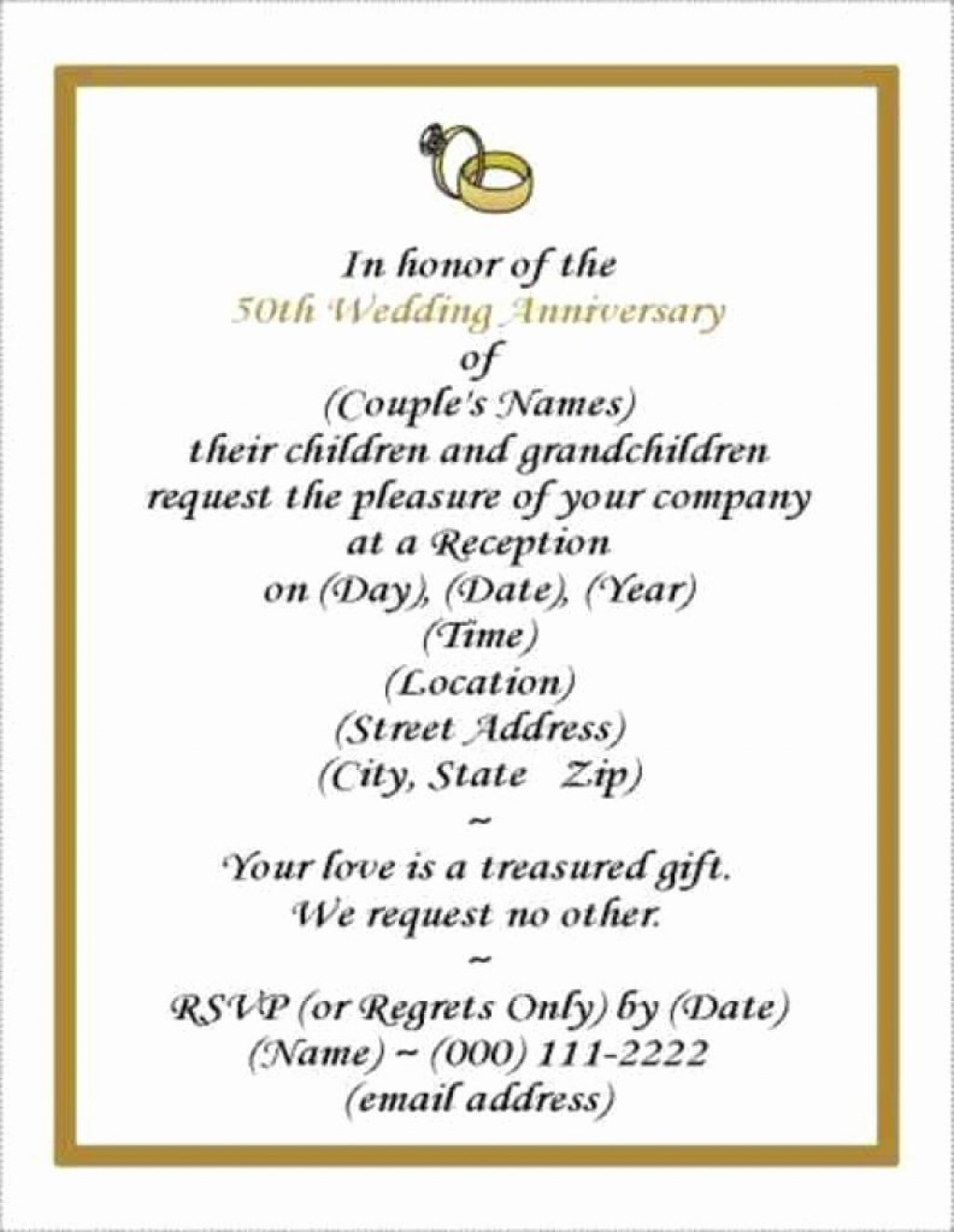 001 Rare Free Printable 50th Wedding Anniversary Invitation Template Design Large