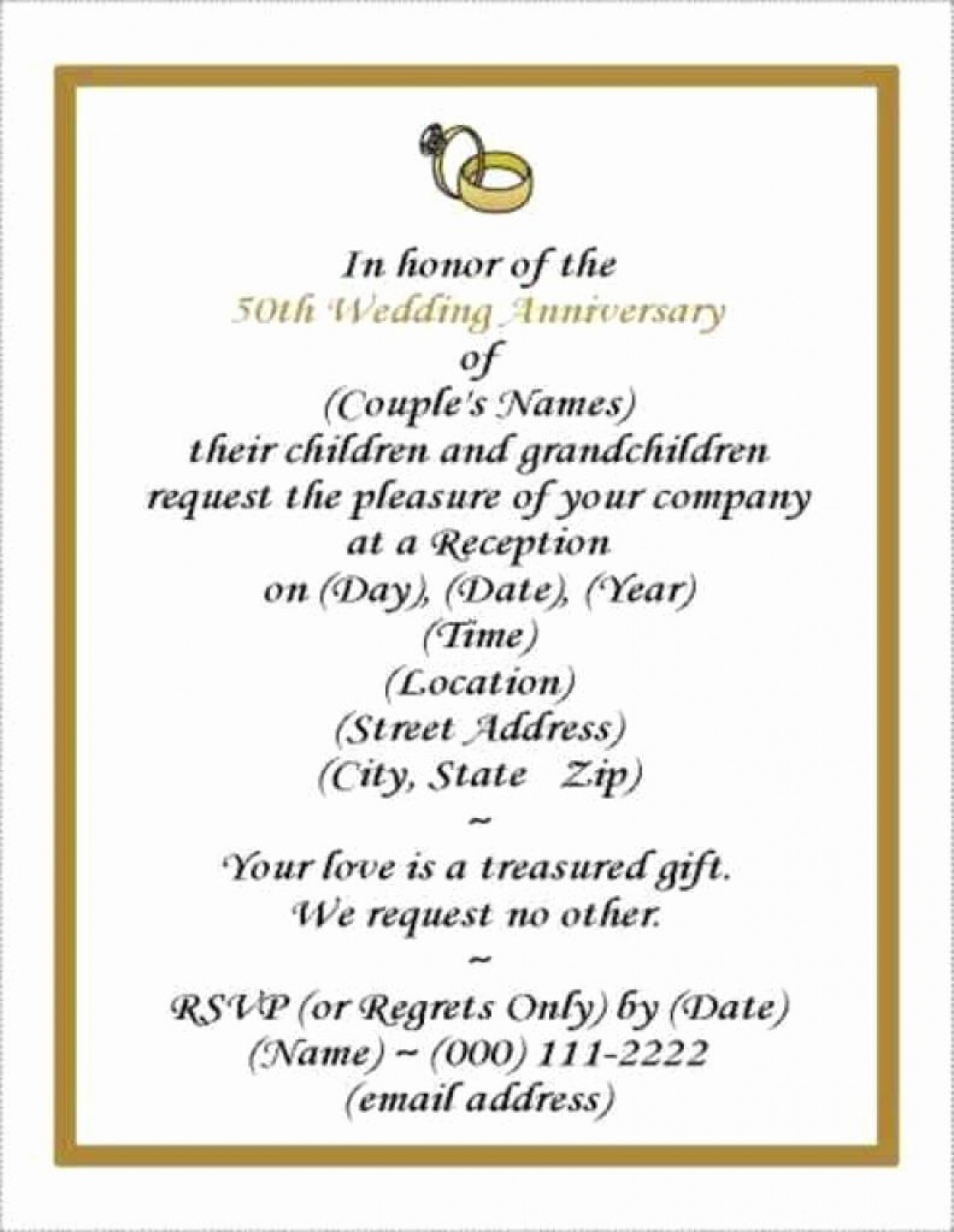 001 Rare Free Printable 50th Wedding Anniversary Invitation Template Design 1400