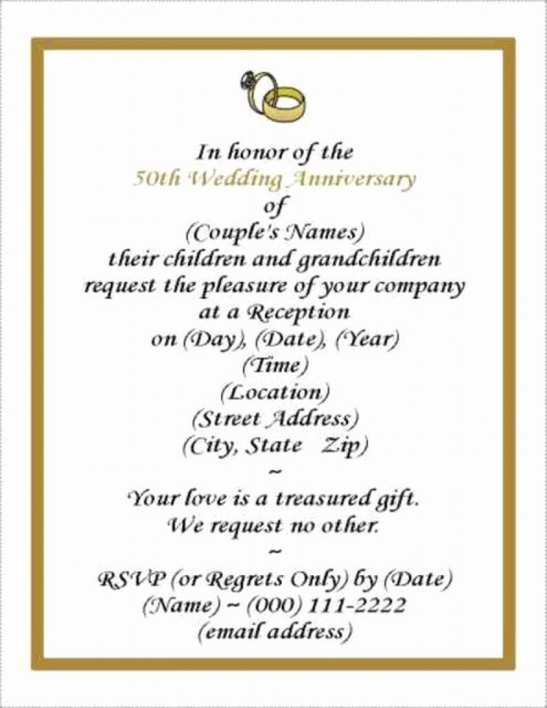 001 Rare Free Printable 50th Wedding Anniversary Invitation Template Design 1920