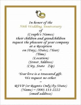 001 Rare Free Printable 50th Wedding Anniversary Invitation Template Design 320