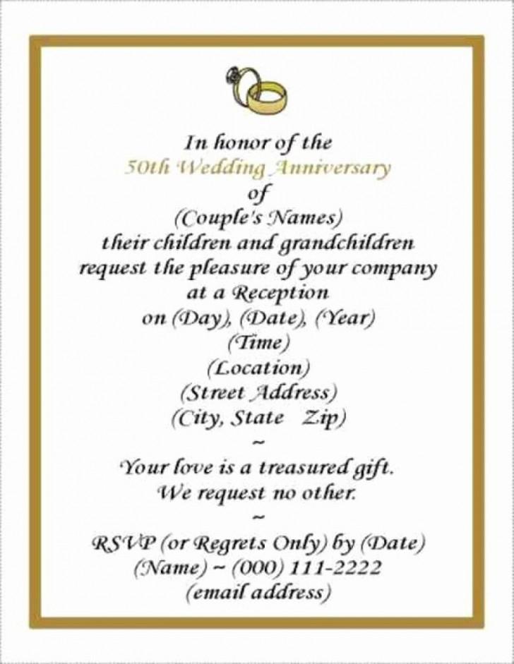 001 Rare Free Printable 50th Wedding Anniversary Invitation Template Design 728