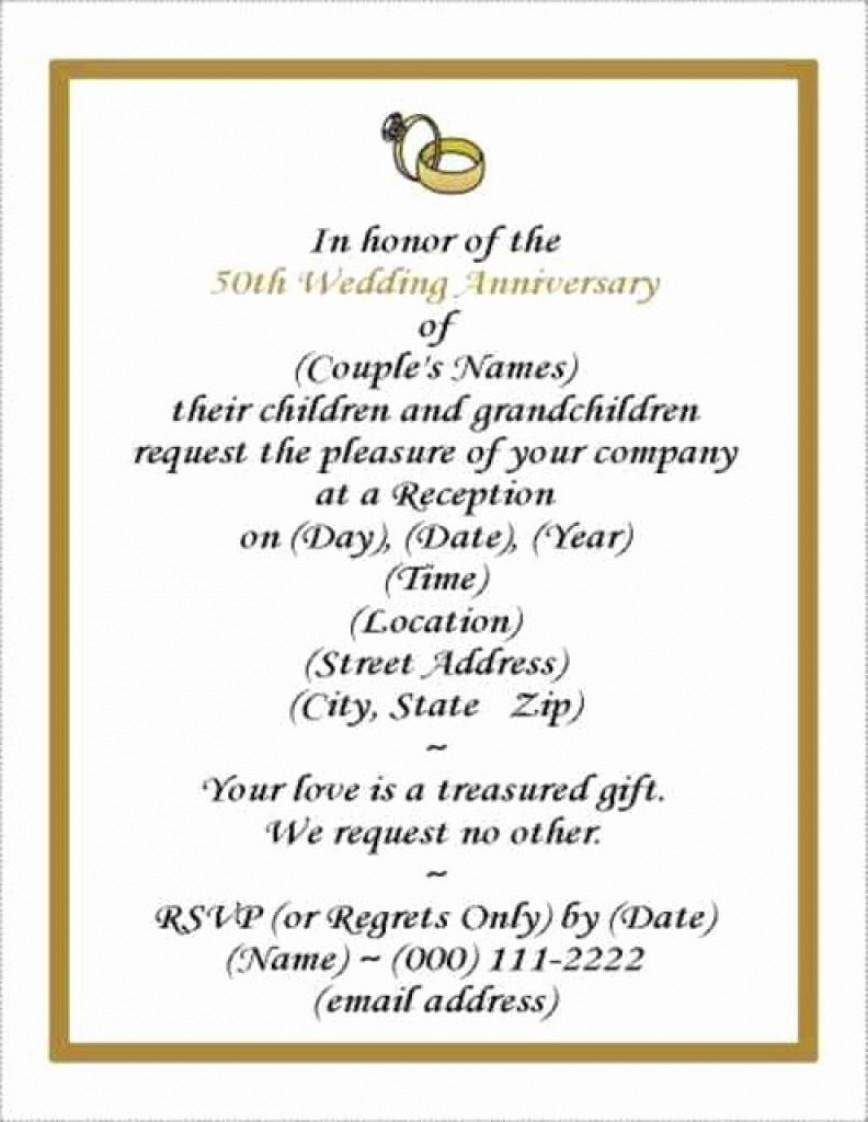 001 Rare Free Printable 50th Wedding Anniversary Invitation Template Design 868