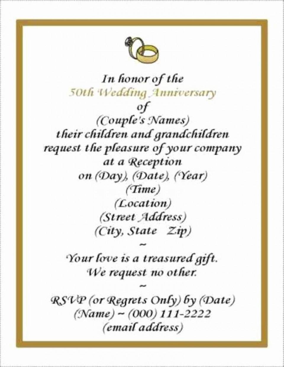 001 Rare Free Printable 50th Wedding Anniversary Invitation Template Design 960