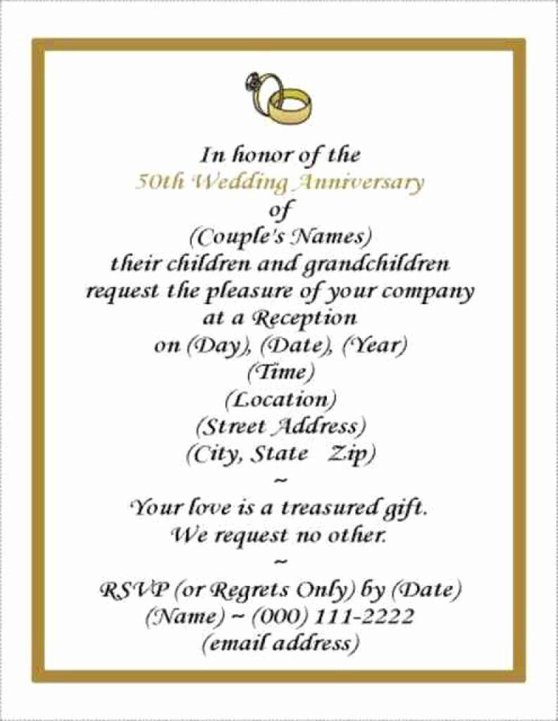 001 Rare Free Printable 50th Wedding Anniversary Invitation Template Design Full